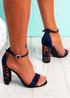 Uppo Navy Multicolor Block Heel Sandals