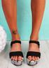 Zonno Black Snake Skin Platform Sandals