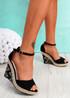 Tany Black Tribal Heel Wedge Sandals