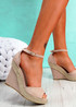 Tany Pink Wedge Sandals