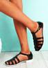 Fedde Black Flat Sandals