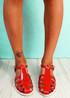 Fedde Red Flat Sandals