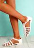 Fedde White Flat Sandals
