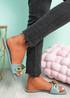 Loxy Blue Croc Pattern Flat Sandals