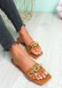 Loxy Camel Croc Pattern Flat Sandals