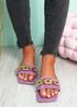 Loxy Violet Croc Pattern Flat Sandals