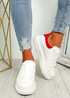 Zamme White Red Platform Trainers