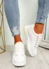Gevy White Pink Lace Up Trainers