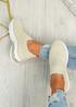 Laffy Beige Slip On Knit Trainers
