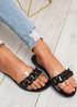 Vemma Black Slip On Flat Sandals