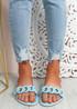 Vemma Blue Slip On Flat Sandals