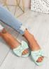 Nito Green Bow Flat Sandals
