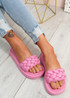 Ceny Pink Braided Flat Sandals