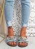 Serena Blue Front Buckle Flat Sandals