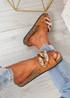Serena Camel Front Buckle Flat Sandals