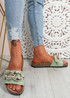 Serena Green Front Buckle Flat Sandals