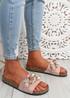 Serena Pink Front Buckle Flat Sandals