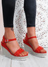 Anny Red Rock Studs Wedge Sandals