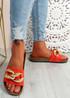 Ryo Red Flat Sandals