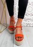Lavy Orange Wedge Platform Sandals