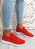 Ossy Red Knit Sport Trainers