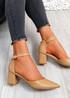 Mya Camel Block Heel Ankle Strap Pumps