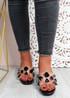Dony Black Rhinestone Slip On Sandals