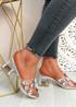 Dony Silver Rhinestone Slip On Sandals