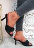 Nory Black Slip On Stiletto Sandals