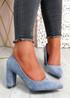 Essa Blue Block Heel Pumps