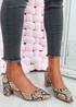 Yasmin Camel Snake Block Heel Pumps