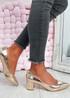 Yasmin Champagne Block Heel Pumps