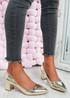 Yasmin Gold Block Heel Pumps