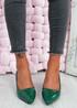 Yasmin Green Block Heel Pumps