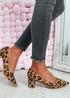 Yasmin Animal Print Tiger Block Heel Pumps