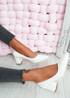 Yasmin White Block Heel Pumps