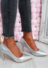 Isabella Silver Stiletto Pumps