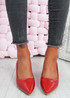 Lydia Red Slip On Pumps