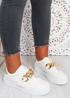 Rita White Gold Flatform Sneakers