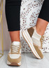 Daisy Beige Wedge Trainers