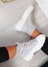 Yesenia Grey Platform Knit Trainers