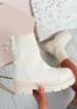 Brianna Beige Knit Platform Sock Ankle Boots