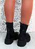 Brianna Black Knit Platform Sock Ankle Boots