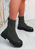 Brianna Green Knit Platform Sock Ankle Boots