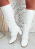 Teegan White Block Heel Knee High Boots