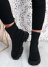 Tiana Black Knit Sock Ankle Boots