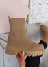 Tiana Camel Knit Sock Ankle Boots