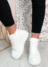 Paola White Flatform Ankle Boots