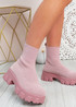 Erin Pink Knit Sock Ankle Boots