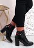 Priscilla Black Patent Block Heel Ankle Boots